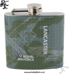 5oz Stainless Steel RAF Lancaster Blueprint Hip Flask