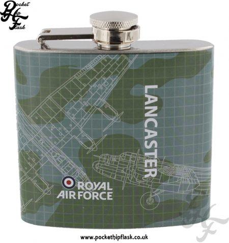 5oz Stainless Steel RAF Lancaster Blueprint Hip Flask