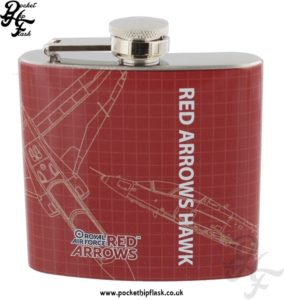 5oz Stainless Steel RAF Red Arrows Hawk Blueprint Hip Flask
