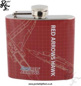 5oz Stainless Steel RAF Red Arrows Hawk Blueprint Hip Flask