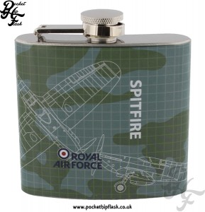 RAF Hip Flasks - 5oz Stainless Steel RAF Spitfire Blueprint Hip Flask