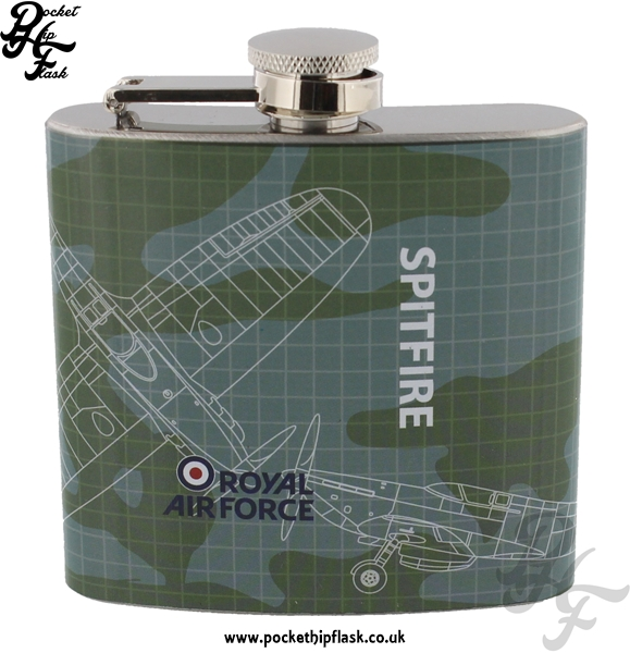 5oz Stainless Steel RAF Spitfire Blueprint Hip Flask