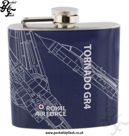 5oz Stainless Steel RAF Tornado GR4 Blueprint Hip Flask