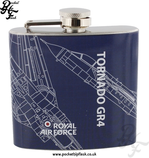 5oz Stainless Steel RAF Tornado GR4 Blueprint Hip Flask