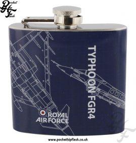 5oz Stainless Steel RAF Typhoon FGR4 Blueprint Hip Flask