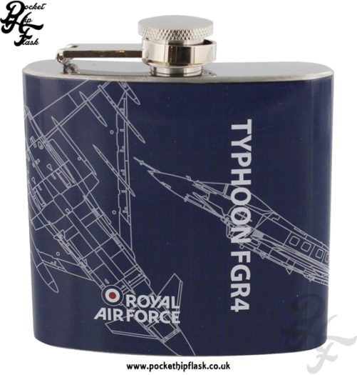 5oz Stainless Steel RAF Typhoon FGR4 Blueprint Hip Flask