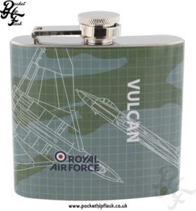 5oz Stainless Steel RAF Vulcan Blueprint Hip Flask