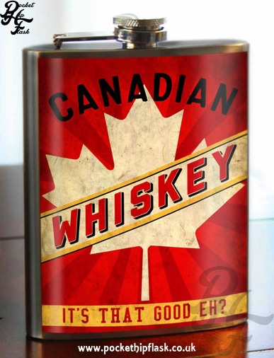 Canadian Whiskey 8oz Stainless Steel Hip Flask