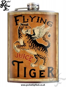 Flying Tiger Juice 8oz Stainless Steel Hip Flask with Original Artwork