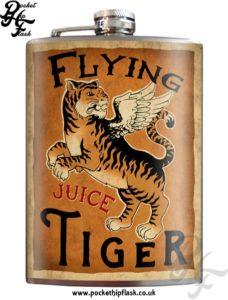 Flying Tiger Juice 8oz Stainless Steel Hip Flask with Original Artwork