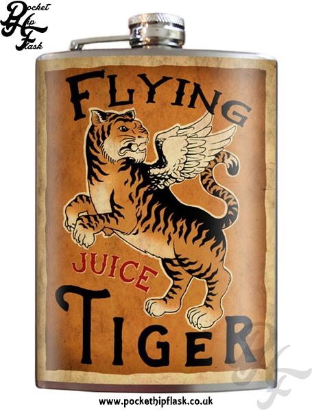 flying tiger juice 8oz stainless steel hip flask with. Black Bedroom Furniture Sets. Home Design Ideas