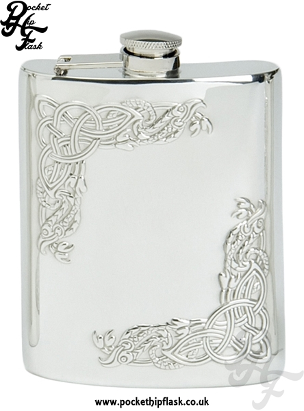 6oz Pewter Hip Flask with Corner Celtic Serpent and Captive Top