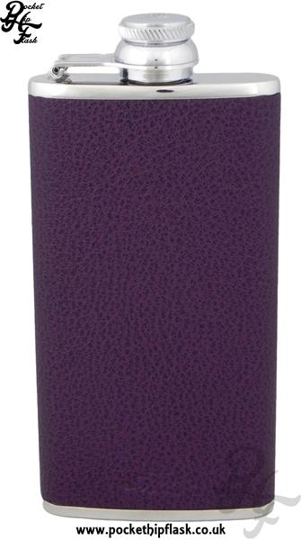 Ladies Purple Luxury Leather Patterned 4oz Slimline Hip Flask