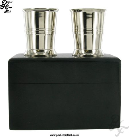 2 Stainless Steel Shot Cups in Wooden Box
