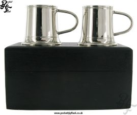 2 Stainless Steel Shot Mugs in Wooden Box