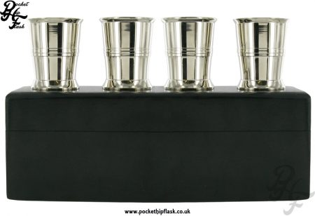 4 Stainless Steel Shot Cups in Wooden Box