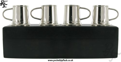4 Stainless Steel Shot Mugs in Wooden Box