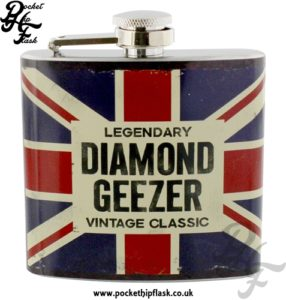 5oz Stainless Steel Union Jack Hip Flask Legendary Vintage Classic Diamond Geezer