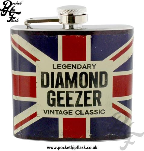 5oz Stainless Steel Union Jack Hip Flask Legendary Vintage Classic Diamond Geezer