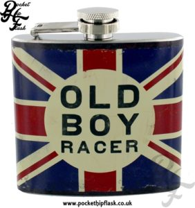 5oz Stainless Steel Union Jack Hip Flask Old Boy Racer