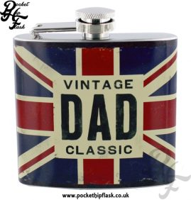 5oz Stainless Steel Union Jack Hip Flask Vintage Classic Dad