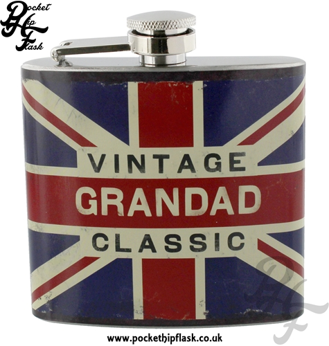 5oz Stainless Steel Union Jack Hip Flask Vintage Classic Grandad