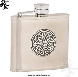 4oz Brushed Stainless Steel Hip Flask with Celtic Badge