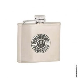4oz-Brushed-Stainless-Steel-Hip-Flask-with-Celtic-Thistle-Badge