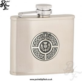 4oz Brushed Stainless Steel Hip Flask with Celtic Thistle Badge