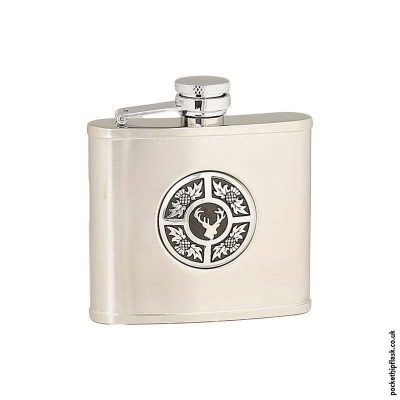 4oz-Brushed-Stainless-Steel-Hip-Flask-with-Round-Stag-and-Thistle-Badge