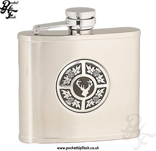 4oz Brushed Stainless Steel Hip Flask with Round Stag and Thistle Badge