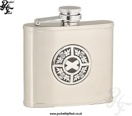 4oz Brushed Stainless Steel Hip Flask with Round Thistle and Saltire Badge