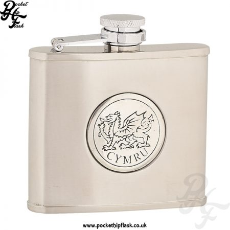 4oz Brushed Stainless Steel Hip Flask with Round Welsh Dragon Badge