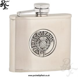 4oz Brushed Stainless Steel Hip Flask with Scotland Badge
