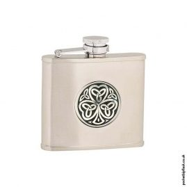 4oz-Brushed-Stainless-Steel-Hip-Flask-with-Shamrock-Badge
