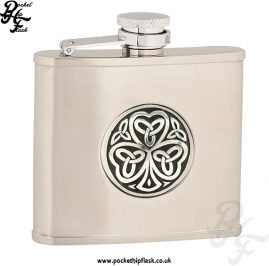 4oz Brushed Stainless Steel Hip Flask with Shamrock Badge