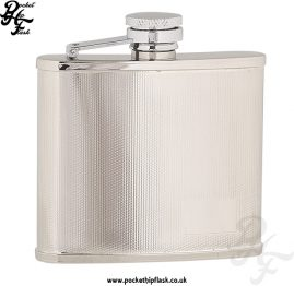 4oz Checked Stainless Steel Hip Flask with Corner engraving plate