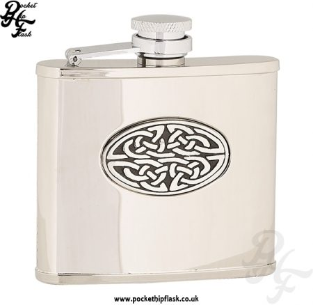 4oz Shiny Stainless Steel Hip Flask with Oval Celtic Badge