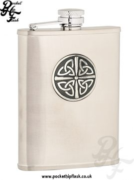 6oz Brushed Stainless Steel Hip Flask with Celtic Badge
