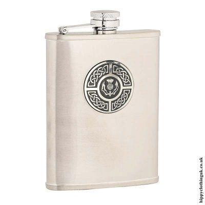 6oz-Brushed-Stainless-Steel-Hip-Flask-with-Celtic-Thistle-Badge