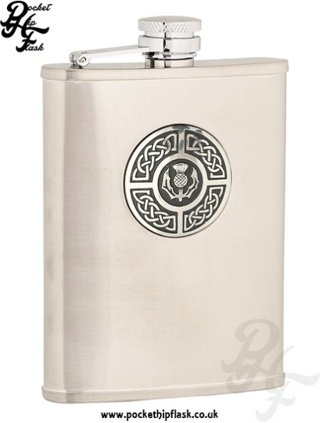 6oz Brushed Stainless Steel Hip Flask with Celtic Thistle Badge