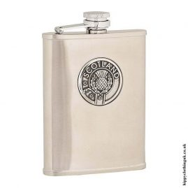 6oz-Brushed-Stainless-Steel-Hip-Flask-with-Scotland-Badge