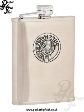 6oz Brushed Stainless Steel Hip Flask with Scotland Badge