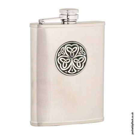 6oz-Brushed-Stainless-Steel-Hip-Flask-with-Shamrock-Badge