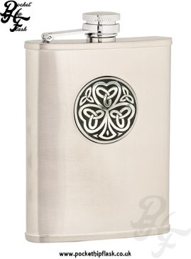 6oz Brushed Stainless Steel Hip Flask with Shamrock Badge