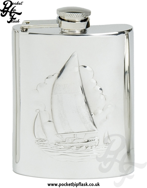6oz Pewter Boating Hip Flask with Captive Top