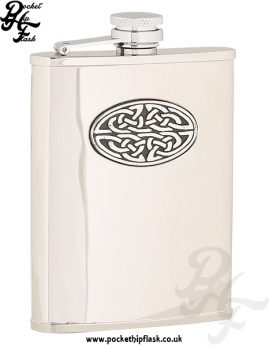 6oz Shiny Stainless Steel Hip Flask with Oval Celtic Badge