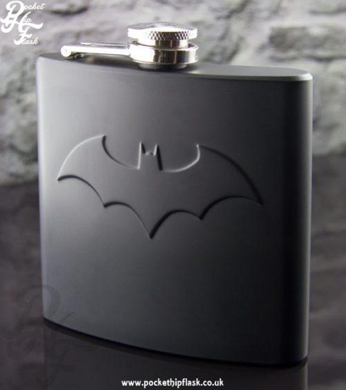 6oz Stainless Steel Matt Black Batman Hip Flask