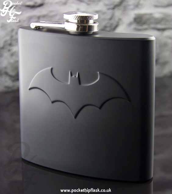 6oz Stainless Steel Matt Black Batman Hip Flask