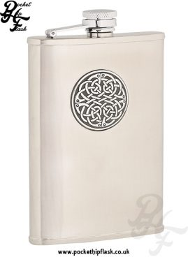 8oz Brushed Stainless Steel Hip Flask with Celtic Badge